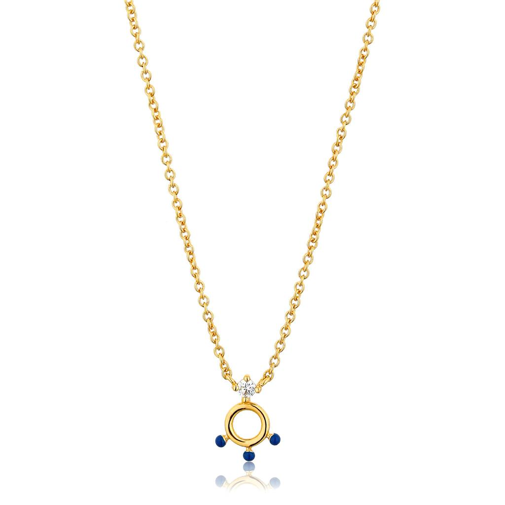 ANIA HAIE DOTTED CIRCLE PENDANT NECKLACE 925S