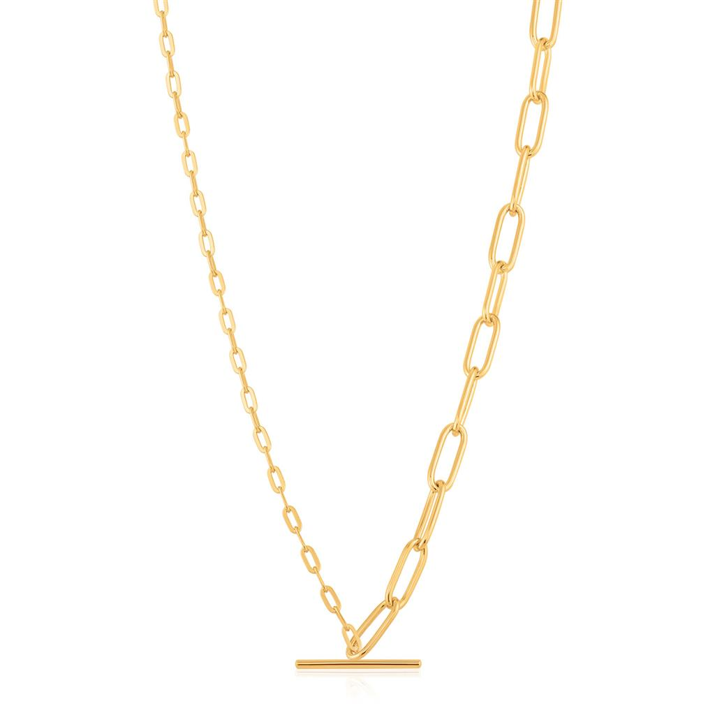 ANIA HAIE MIXED LINK T-BAR NECKLACE 925S