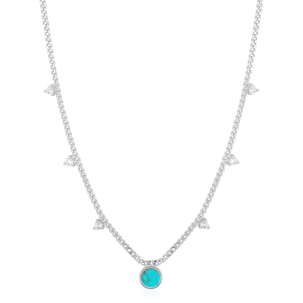 ANIA HAIE TURQUOISE DROP DISC NECKLACE 925S