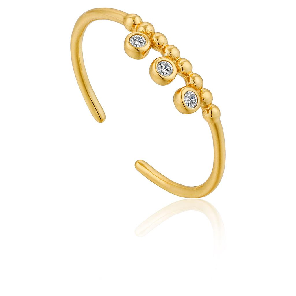 ANIA HAIE SHIMMER TRIPLE STUD ADJUSTABLE RING 925S