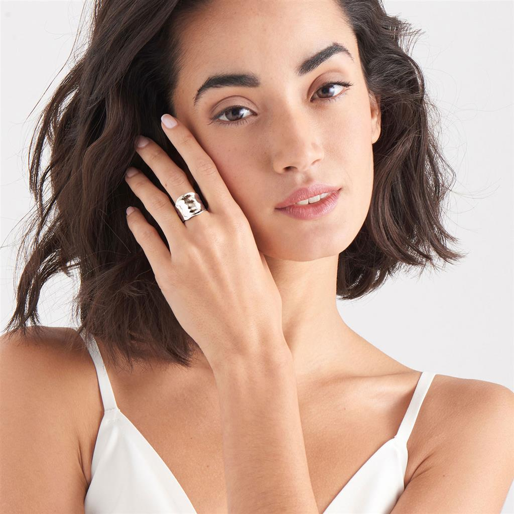 ANIA HAIE CRUSH WIDE ADJUSTABLE RING 925S