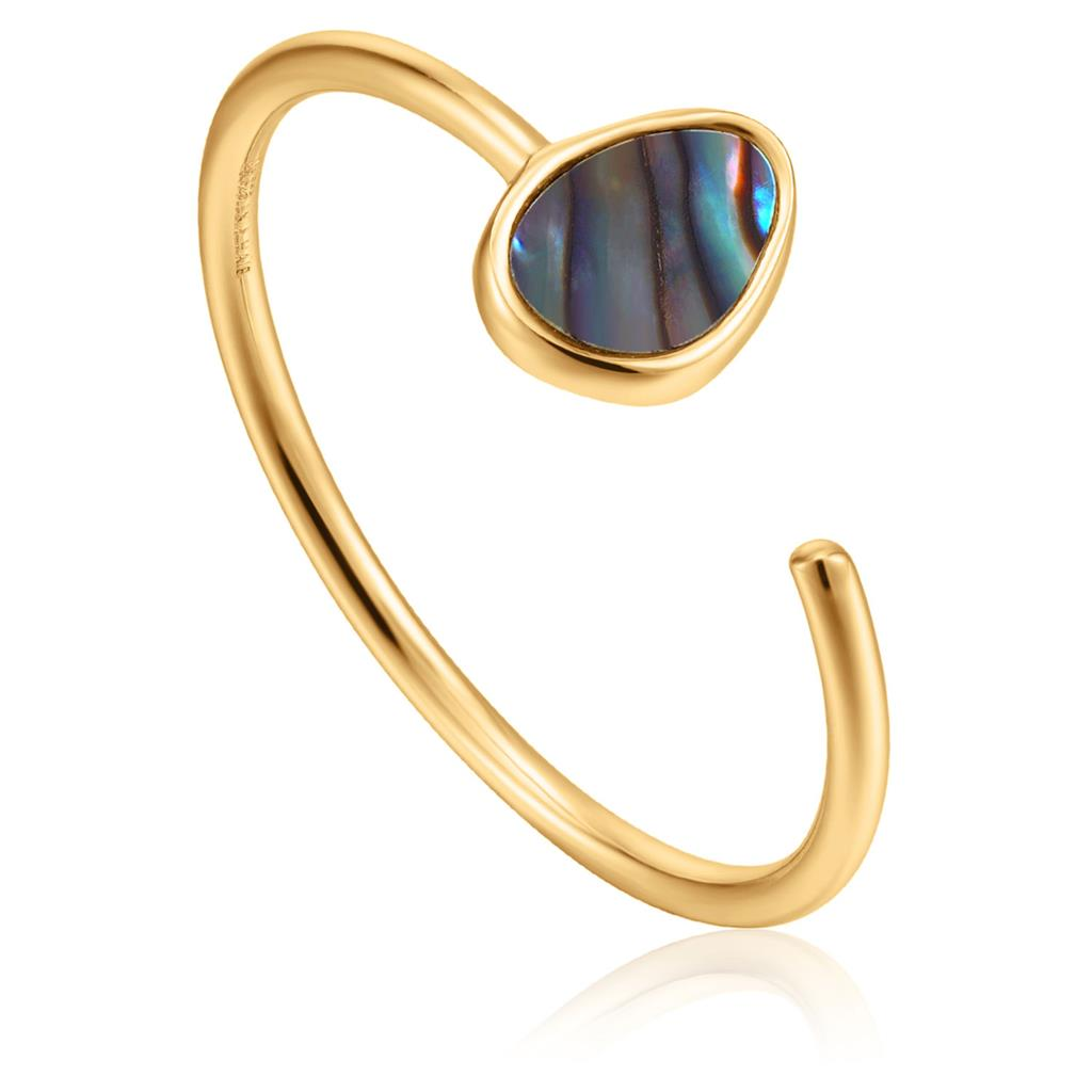 ANIA HAIE TIDAL ABALONE ADJUSTABLE RING 925S