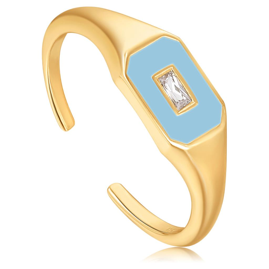 ANIA HAIE POWDER BLUE ENAMEL ADJUSTABLE RING 925S
