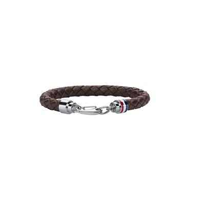 TOMMY HILFIGER MEN'S CASUAL BROWN LEATHER BRACELET