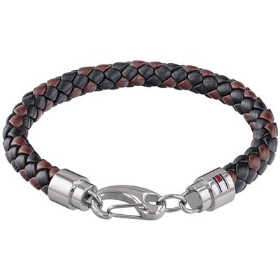 TOMMY HILFIGER MEN'S CASUAL LEATHER BRACELET BLACK