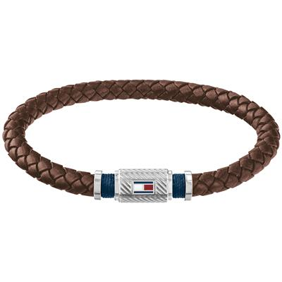 TOMMY HILFIGER BRAIDED BRACELET  DARK BROWN 19 CM