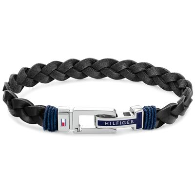 TOMMY HILFIGER FLAT BRAIDED LEATHER BRACELET  21CM