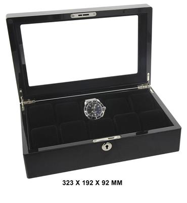 WATCH BOX FOR 10 WATCHES BLACK 323 X 192 X 92 MM