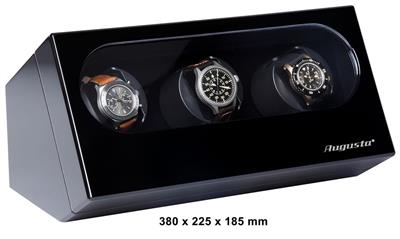 WATCH WINDER 3 WATCHES (BLACK) WITH ADAPTER