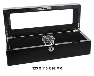 WATCH BOX FOR 5 WATCHES BLACK 323 X 110 X 92 MM