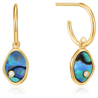 ANIA HAIE TIDAL ABALONE MINI HOOP EARRINGS 925S