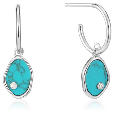 ANIA HAIE TIDAL TURQUOISE MINI HOOP EARRINGS 925S
