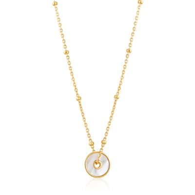 ANIA HAIE MOTHER OF PEARL DISC NECKLACE 925S