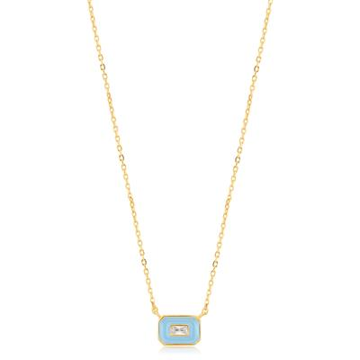 ANIA HAIE POWDER BLUE ENAMEL NECKLACE 925S