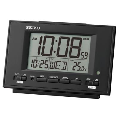 SEIKO ALARM CLOCK9X13X5CM SNOOZE CAL THERM LIGHT