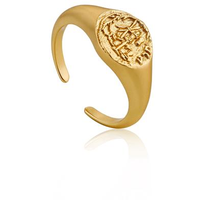 ANIA HAIE EMBLEM ADJUSTABLE SIGNET RING 925S