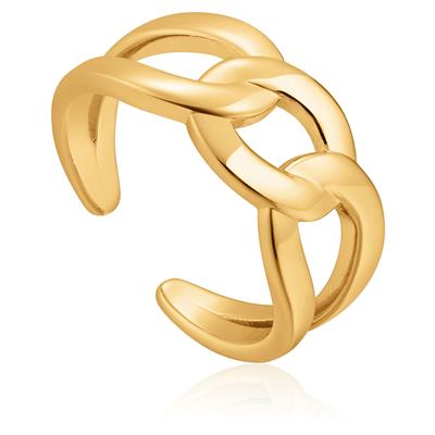 ANIA HAIE WIDE CURB CHAIN ADJUSTABLE RING 925S