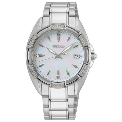 SEIKO LADIES 33MM 100M MOP DIAL 18 DIAMONDS