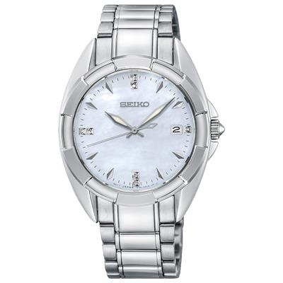 SEIKO LADIES 33MM SAFIR 100M 7 DIAMONDS MOTHER OF